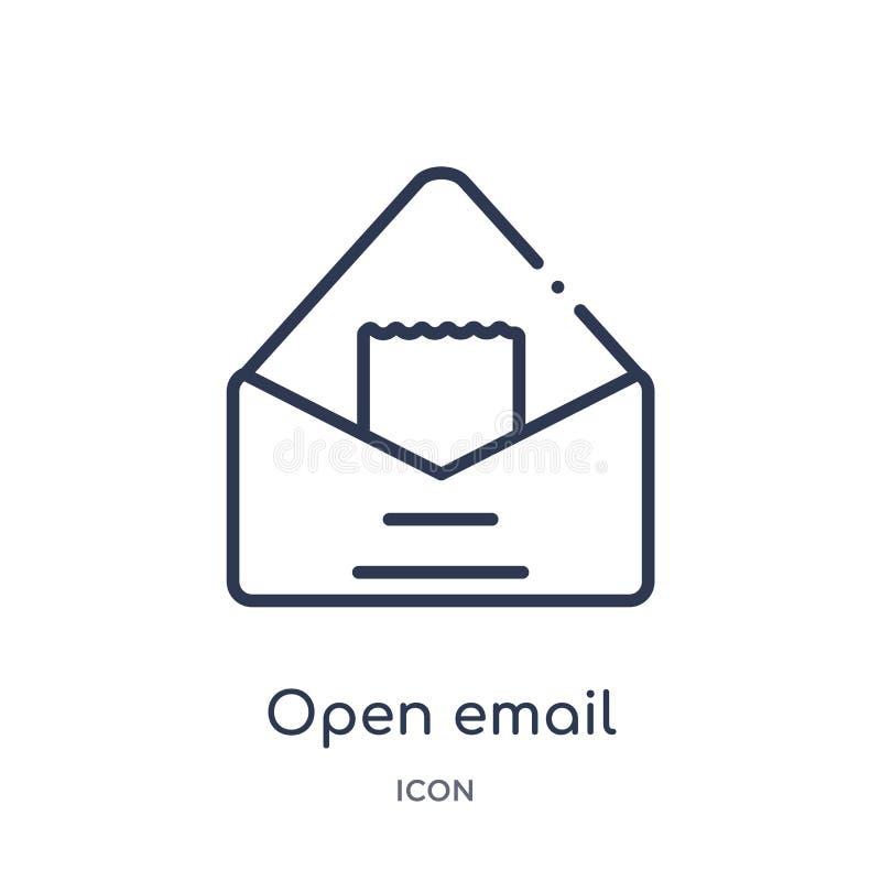 Ícone aberto linear do e-mail da coleção do esboço da educação Linha fina vetor aberto do e-mail isolado no fundo branco Abra o e ilustração stock