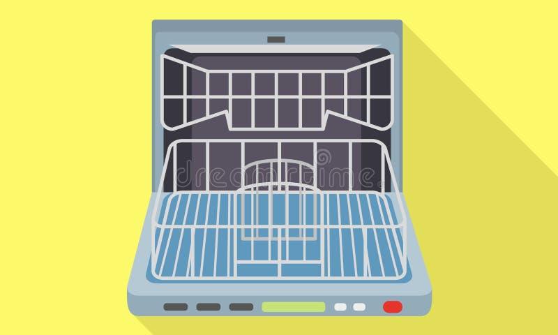 Ícone aberto vazio da máquina de lavar louça, estilo liso ilustração royalty free