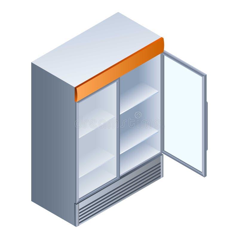 Ícone aberto vazio do refrigerador da bebida, estilo isométrico ilustração stock