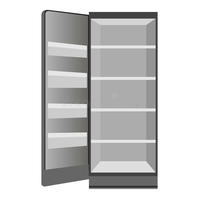 Ícone aberto vazio do refrigerador, estilo dos desenhos animados ilustração stock