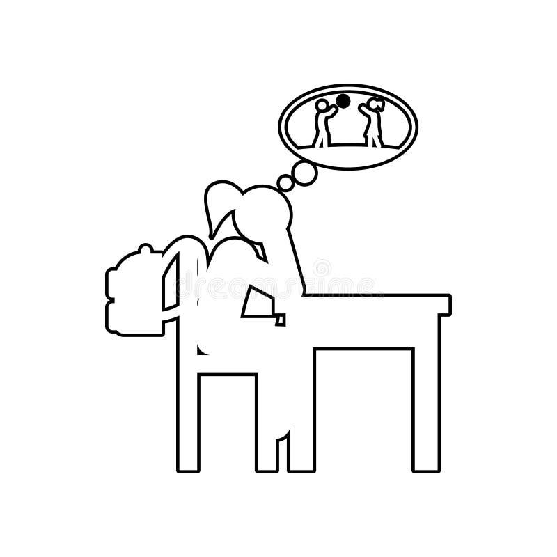 ícone aborrecido da lição Elemento de volta à escola para o conceito e o ícone móveis dos apps da Web Esboço, linha fina ícone pa ilustração stock