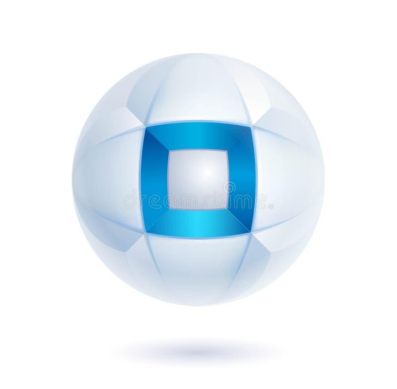 Ícone abstrato azul da alta tecnologia - logotipo do vetor 3d ilustração stock