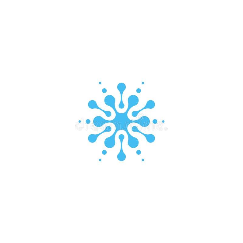 Ícone abstrato azul da gota da água Logotipo isolado da forma do respingo, símbolo incomum do sillhoutte da estrela ilustração stock