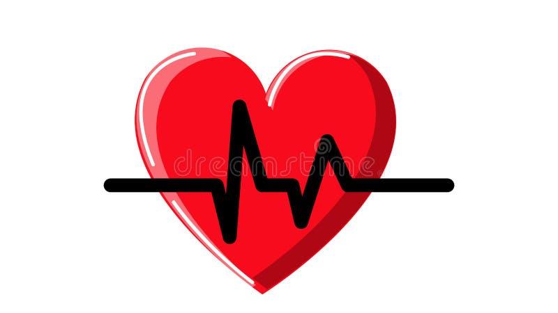 Ícone abstrato bonito de um coração médico vermelho com destaques simples e do cardiograma do pulso em um fundo branco Vetor ilustração royalty free