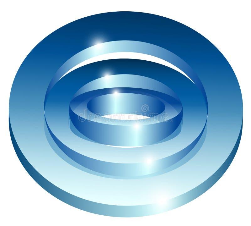 Ícone abstrato brilhante azul da tecnologia no fundo branco ilustração royalty free