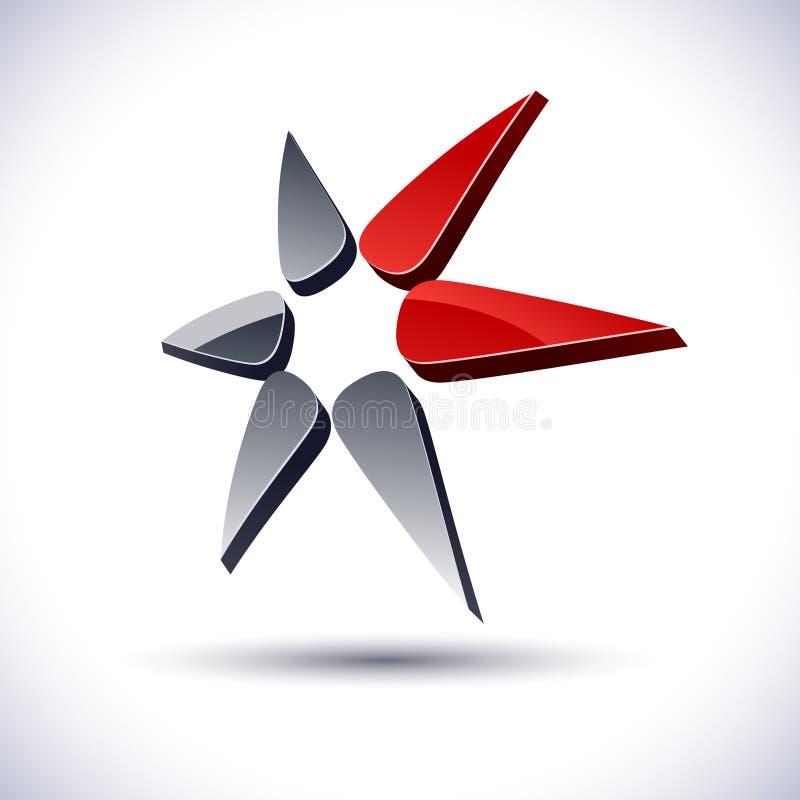 Ícone abstrato da estrela 3d. ilustração do vetor
