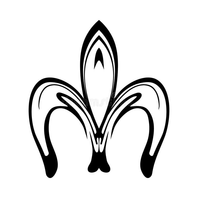 Ícone abstrato da flor de lis isolado no branco ilustração royalty free