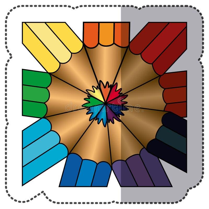 ícone abstrato do bacground dos lápis da cor ilustração do vetor