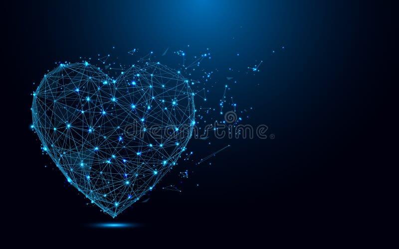Ícone abstrato do coração das linhas e dos triângulos, rede de conexão do ponto no fundo azul ilustração stock