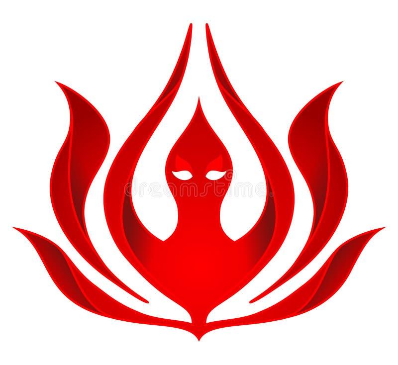 Ícone abstrato do fogo, logotipo de Lotus Despeça a flor Vetor ilustração stock