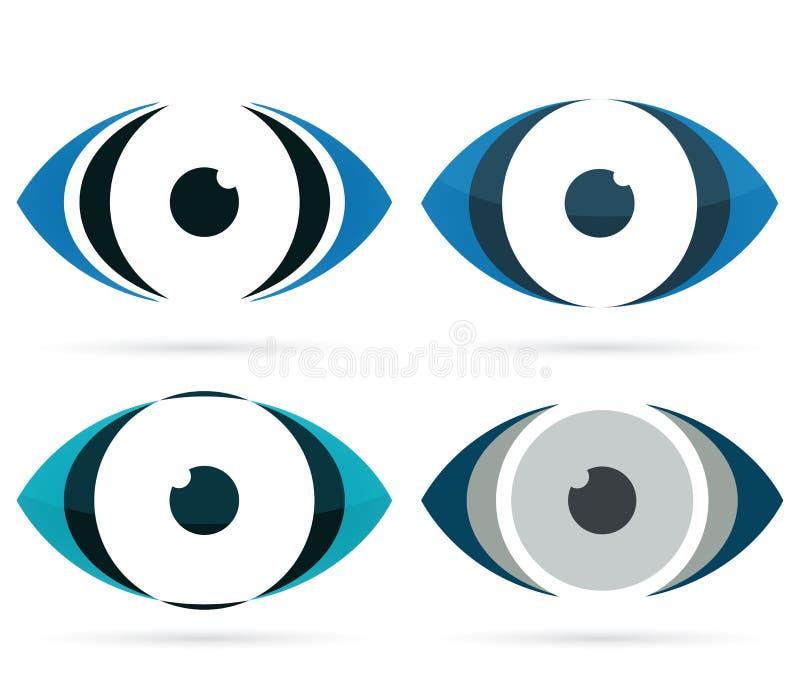 Ícone abstrato do olho, parte colorido da cara ilustração stock