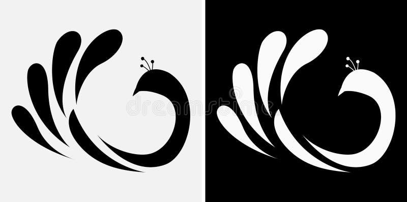 Ícone abstrato do pavão ilustração stock