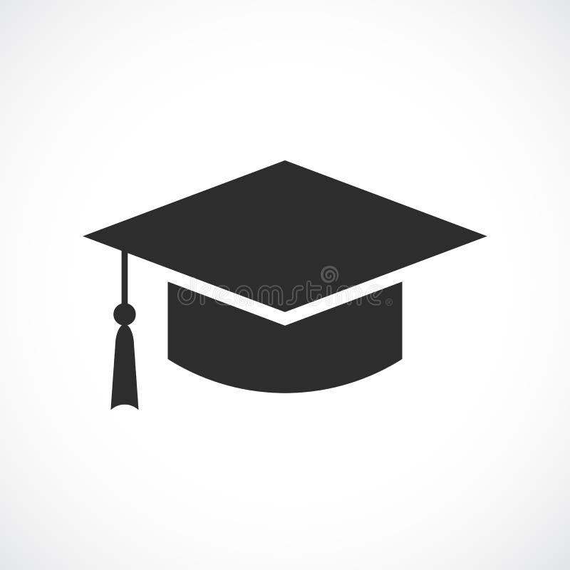Ícone acadêmico do chapéu da graduação ilustração stock