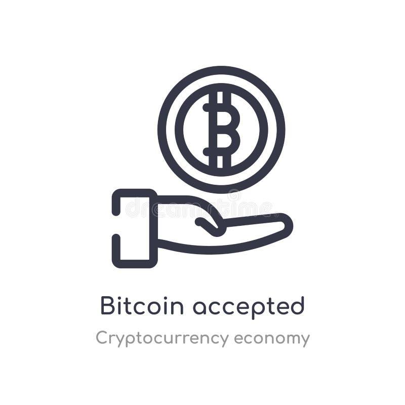 ícone aceitado bitcoin do esboço linha isolada ilustra??o do vetor da cole??o da economia do cryptocurrency curso fino edit?vel ilustração royalty free