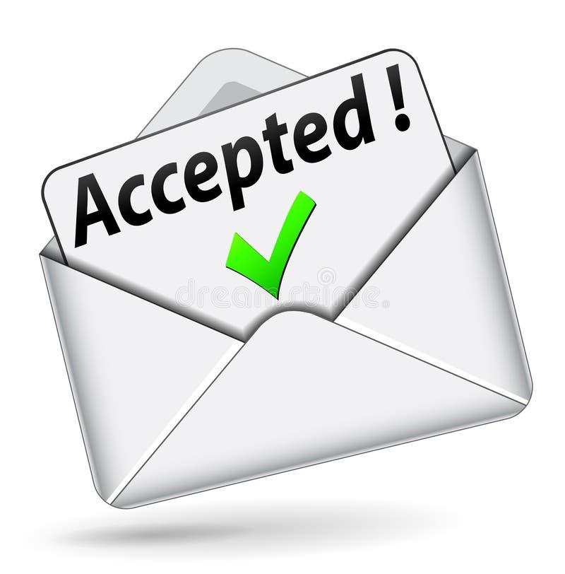 Ícone aceitado vetor do envelope ilustração royalty free