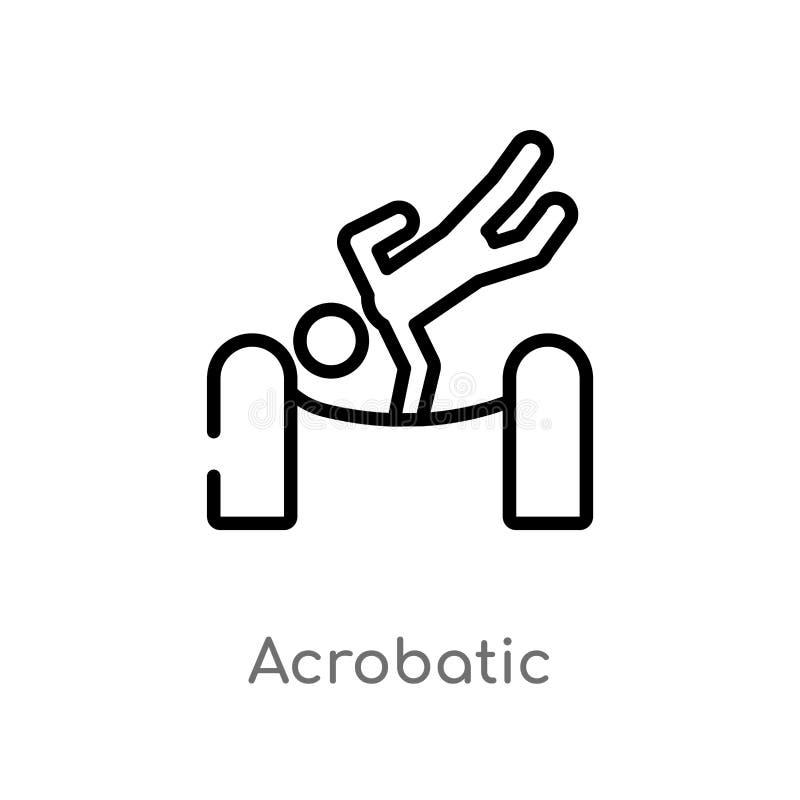 ícone acrobático do vetor do esboço linha simples preta isolada ilustração do elemento do conceito mágico Curso editável do vetor ilustração do vetor