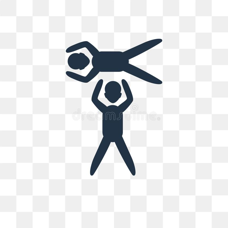 Ícone acrobático do vetor isolado no fundo transparente, Acroba ilustração do vetor