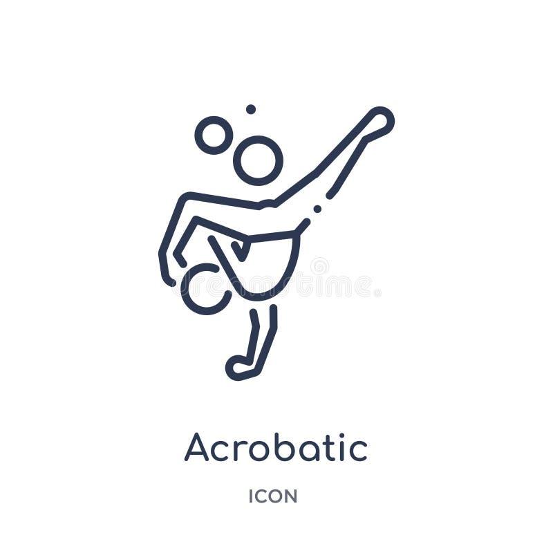 Ícone acrobático linear da coleção mágica do esboço Linha fina ícone acrobático isolado no fundo branco na moda acrobático ilustração do vetor