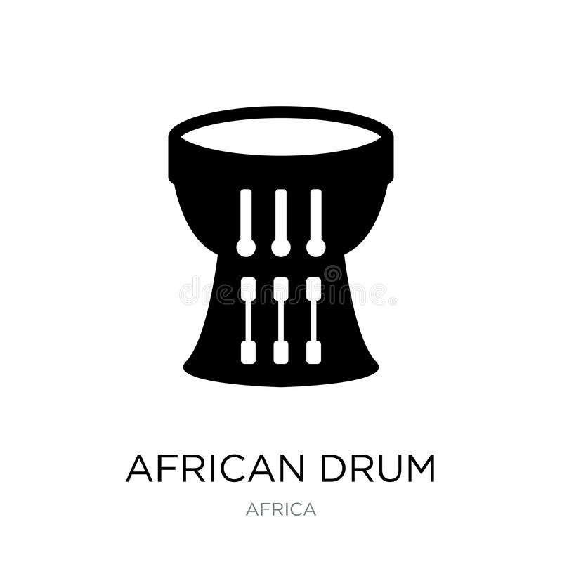 ícone africano do cilindro no estilo na moda do projeto ícone africano do cilindro isolado no fundo branco ícone africano do veto ilustração royalty free
