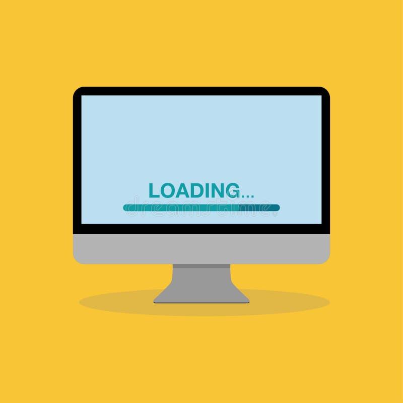 ícone agradável do projeto liso do monitor do tela de computador ilustração stock