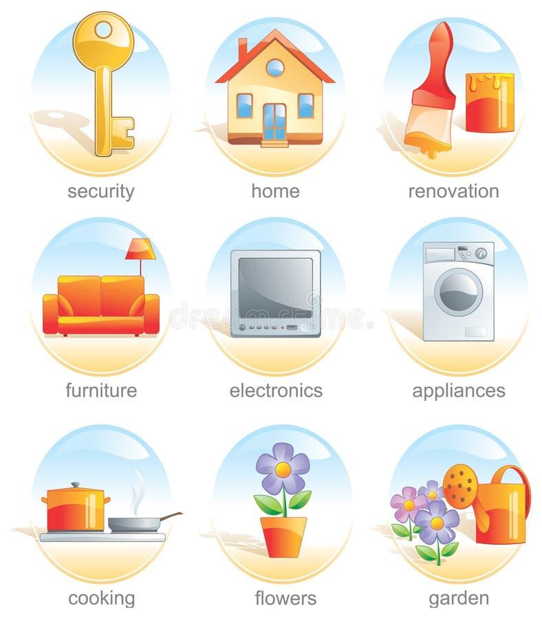 Ícone ajustado - artigos relacionados home. ilustração stock