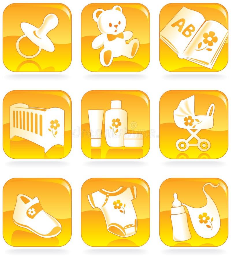 Ícone ajustado - bens do bebê, artigos ilustração stock