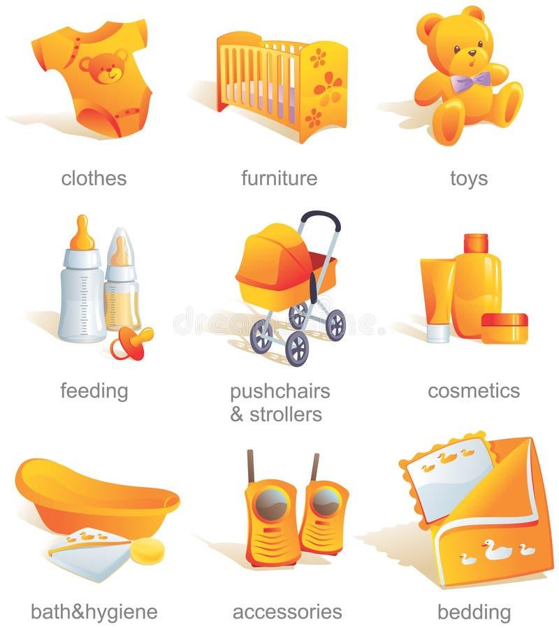 Ícone ajustado - bens do bebê, artigos.   ilustração do vetor