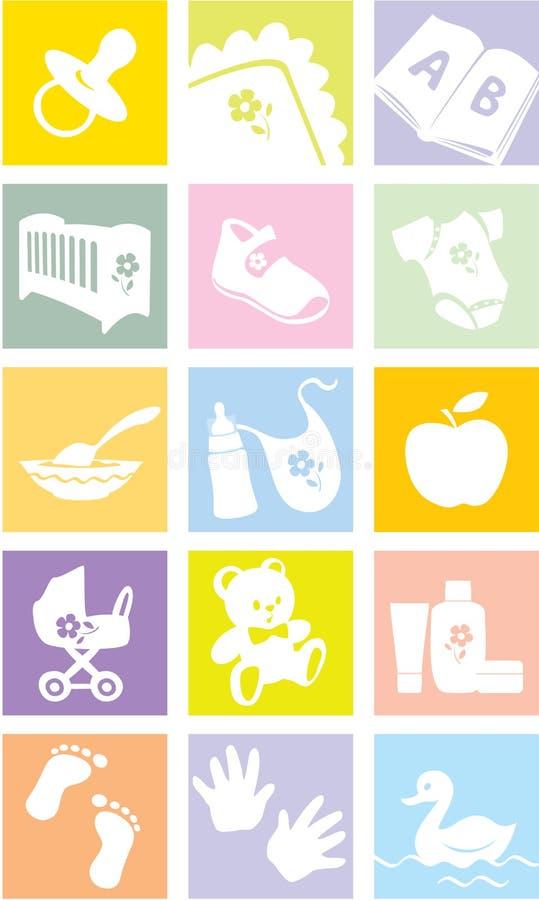 Ícone ajustado - bens do bebê, artigos ilustração royalty free