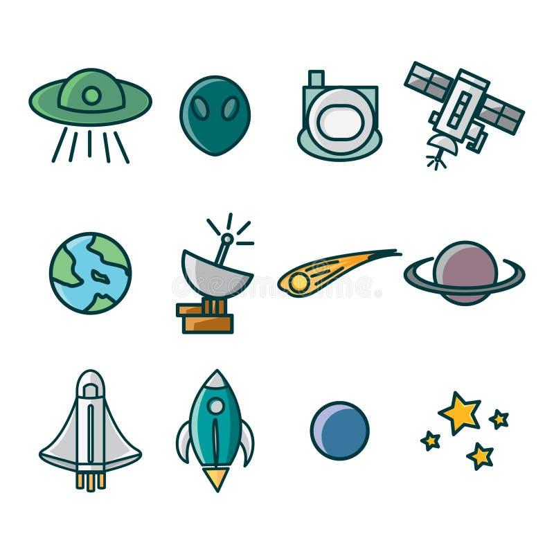 Ícone ajustado com tema do espaço consiste em imagens da nave espacial, das estrelas, dos foguetes, dos astronautas e de outro ilustração do vetor