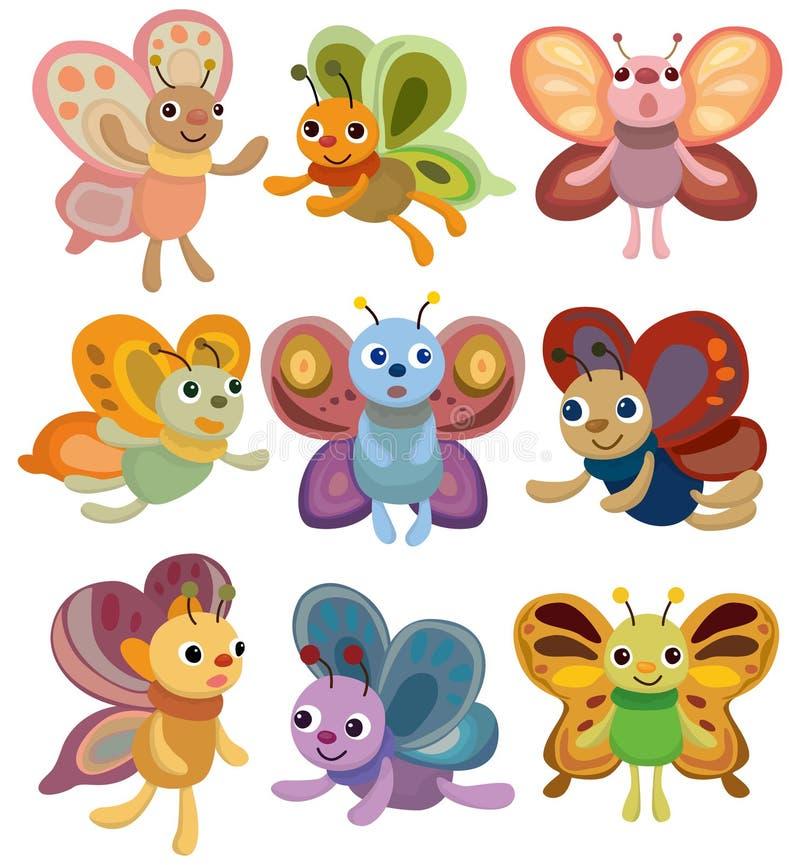 Ícone ajustado da borboleta dos desenhos animados ilustração royalty free