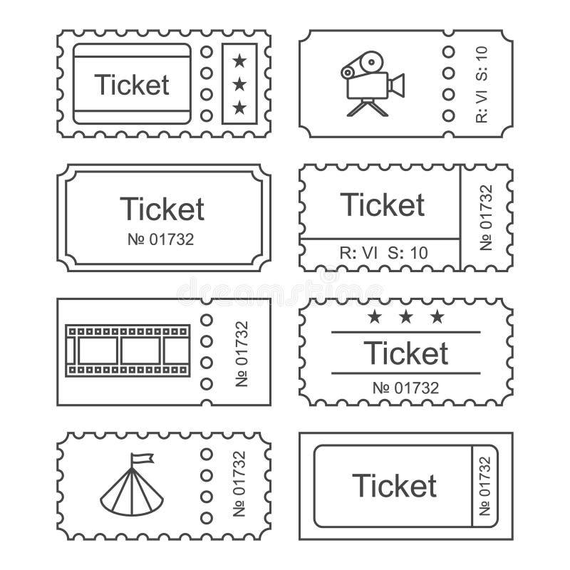 Ícone ajustado do bilhete ilustração stock