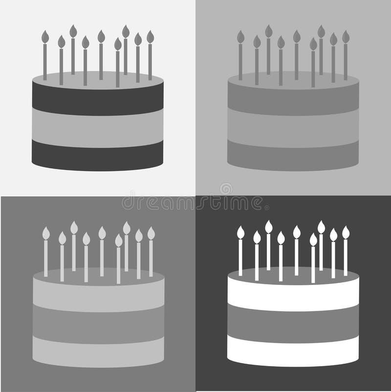Ícone ajustado do bolo do vetor Bolo com velas ilustração do vetor