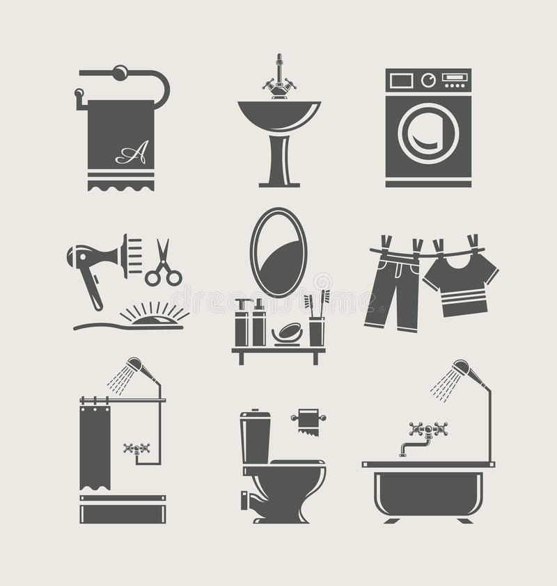 Ícone ajustado do equipamento do banheiro ilustração stock