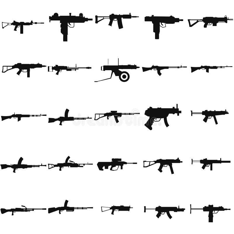 Ícone ajustado do preto do vetor da metralhadora da arma no branco ilustração do vetor