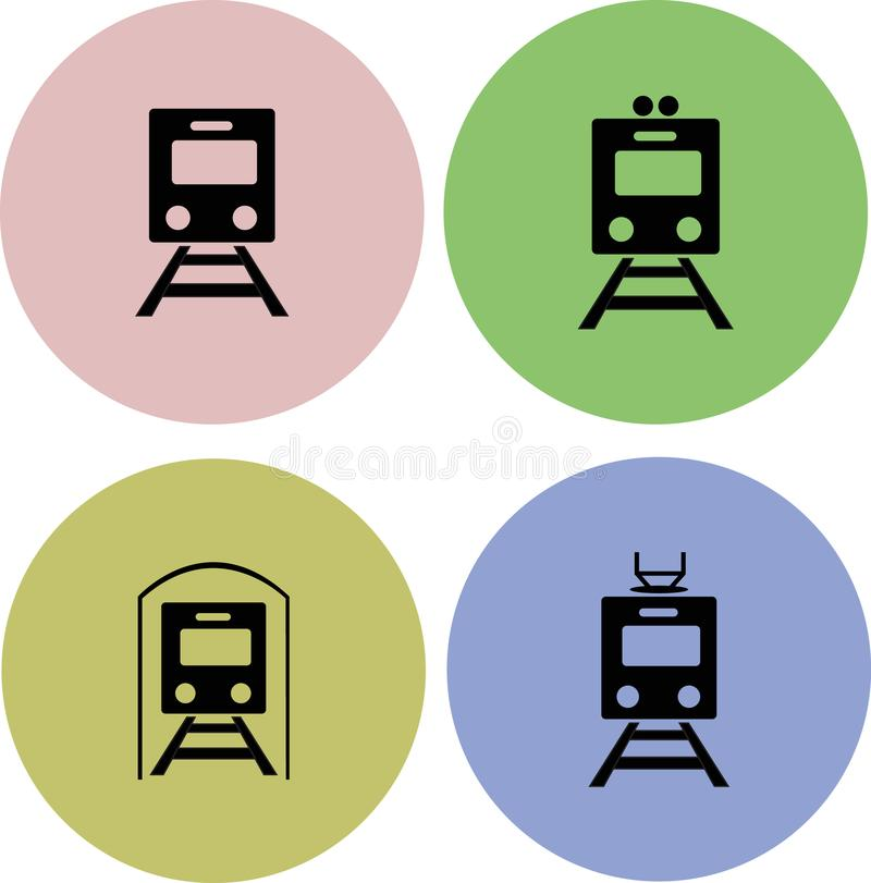 Ícone ajustado do trem imagem de stock