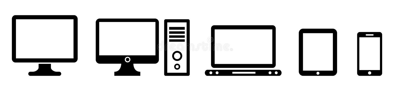 Ícone ajustado dos dispositivos da tecnologia do preto ilustração stock