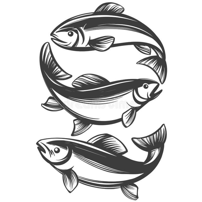 Ícone ajustado dos peixes, pescando o símbolo, esboço realístico tirado mão da ilustração do vetor ilustração stock
