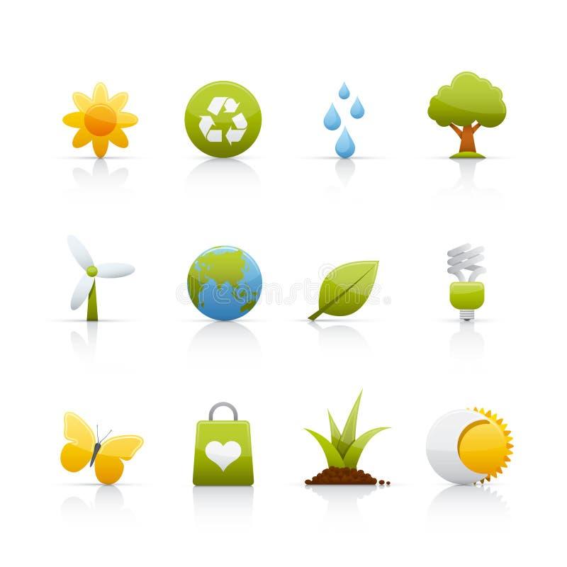 Ícone ajustado - ecologia ilustração stock