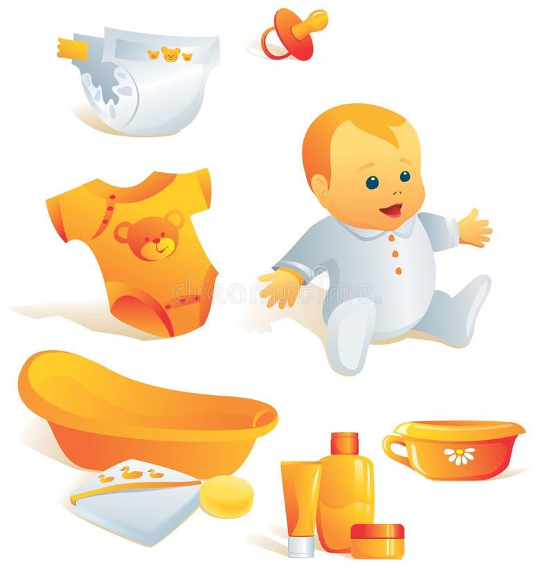 Ícone ajustado - higiene do bebê. Illus ilustração royalty free