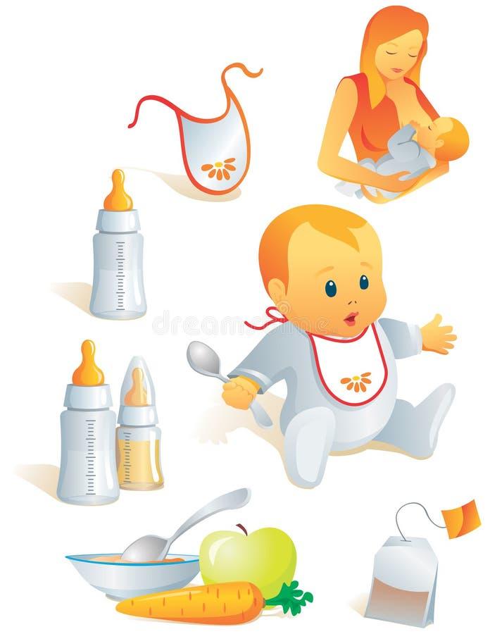 Ícone ajustado - nutrição do bebê. Vec ilustração do vetor