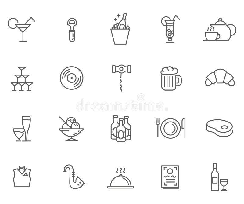Ícone ajustado para o restaurante, o café e a barra ilustração do vetor