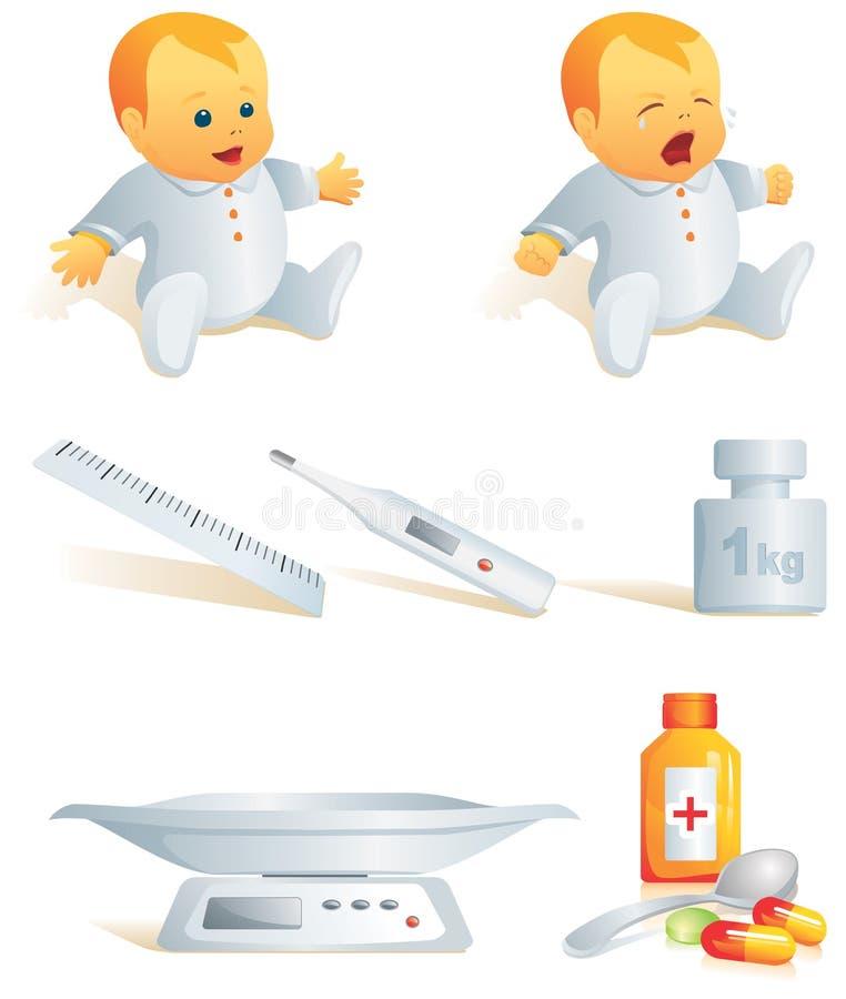Ícone ajustado - saúde do bebê. Illust ilustração do vetor