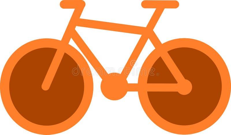 Ícone alaranjado da bicicleta ilustração do vetor