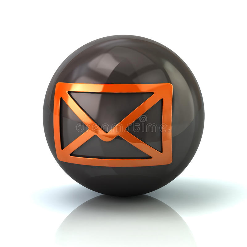 Ícone alaranjado do correio na esfera lustrosa preta ilustração royalty free