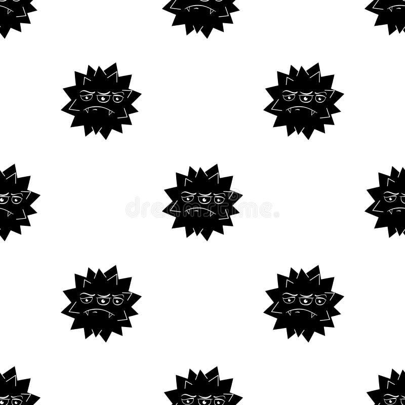 Ícone alaranjado do vírus no estilo preto isolado no fundo branco Vírus e ilustração do vetor do estoque do símbolo dos bacteries ilustração do vetor