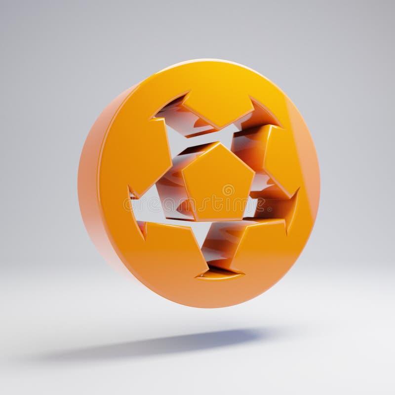 Ícone alaranjado quente lustroso volumétrico da bola de futebol isolado no fundo branco ilustração royalty free
