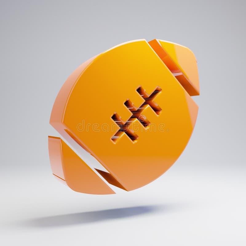 Ícone alaranjado quente lustroso volumétrico da bola do futebol isolado no fundo branco imagem de stock