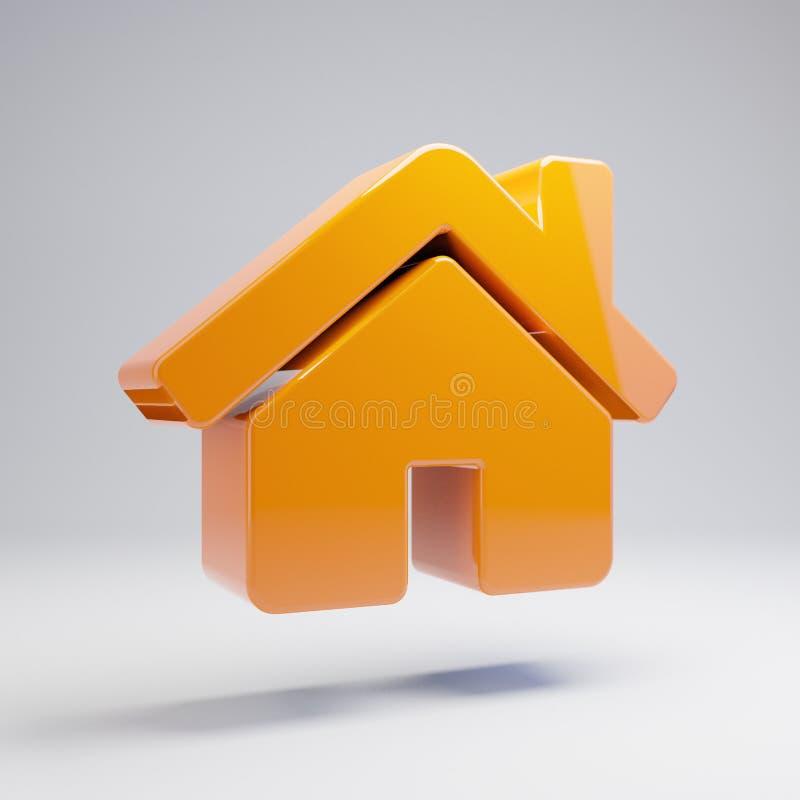Ícone alaranjado quente lustroso volumétrico da casa isolado no fundo branco fotografia de stock royalty free