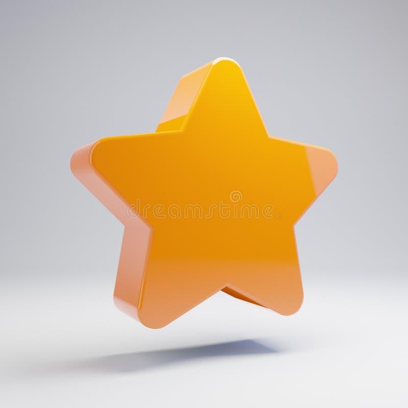 Ícone alaranjado quente lustroso volumétrico da estrela isolado no fundo branco ilustração stock