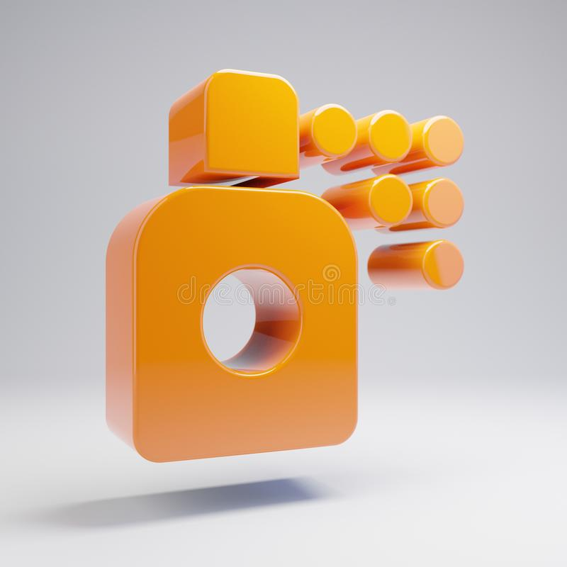 Ícone alaranjado quente lustroso volumétrico da lata de pulverizador isolado no fundo branco ilustração stock